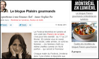 Le blogue Plaisirs gourmands